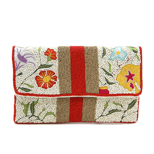 La Chic LACSS144 seed bead flower clutch red