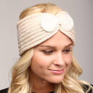 winter cap 070a 04 LOF cable knit bow headband beige