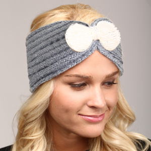 Winter Knit Headband 066a LOF ribbon bead stretch gray