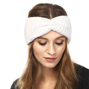 Winter Knit Headband 064d LOF solid ribbed stretch white