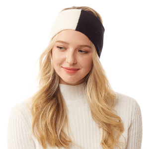 Winter Headband 216b 04 LOF two tone knit black