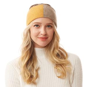 Winter Headband 074 04 LOF two tone knit mustard