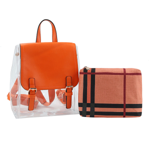 Handbag Republic LM0268 2in1 plaid backpack clear coral orange