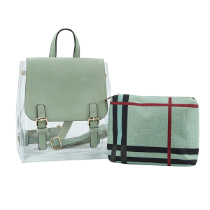 Handbag Republic LM0268 2in1 plaid backpack clear sage green