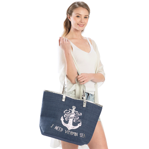 LOF LOA-129 beach tote anchor I Need Vitamin Sea navy