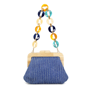 LOF LOA-275 evening bag clutch paper straw blue