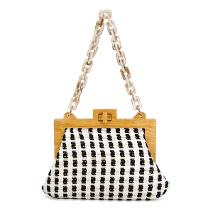 LOF LOA-276 evening bag geometric clutch paper straw white