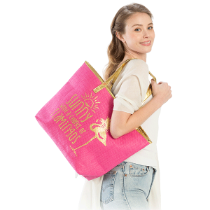 LOF LOA130 beach tote sunny with a chance of flamingos hot pink