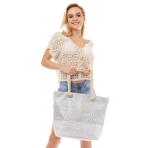 LOF LOA306 metallic leopard print tote bag white multi