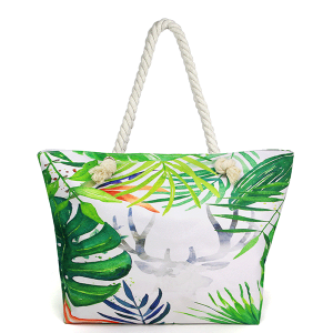 LOF LOA329 beach tote tropical leaves
