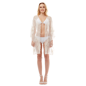 Shawl 759 04 LOF butterfly sheer lace cover up beige