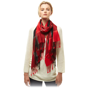 Scarf 357 04 LOF plaid oblong red