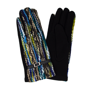 Gloves 039 LOF Touch Screen multi color yarn blue