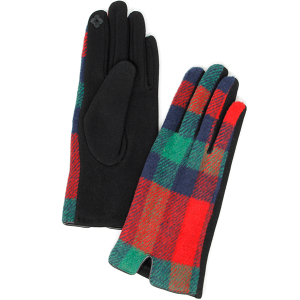 Winter Gloves 023 04 LOF soft plaid accent smart touch green