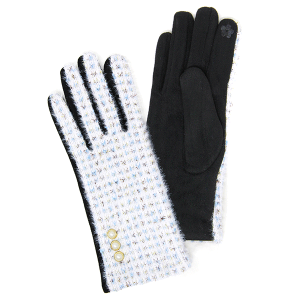 Winter Gloves 015 04 LOF soft lurex pearl smart touch ivory