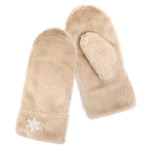 Winter Gloves 071 04 LOF soft fur snowflake mitten beige