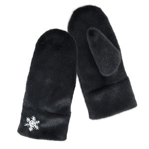 Winter Gloves 070 04 LOF soft fur snowflake mitten black