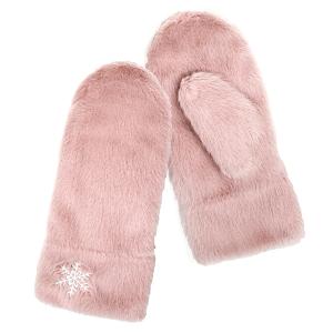 Winter Gloves 064b 04 LOF soft fur snowflake mitten pink