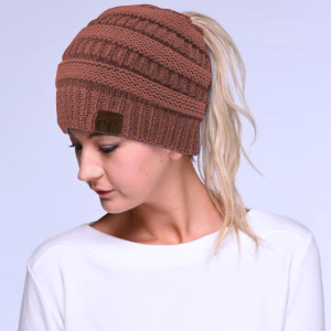 Winter CC Beanie 155b Messy Bun Beanie Pony Tail mauve