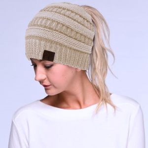 Winter CC Beanie 030a Messy Bun Beanie Pony Tail new beige