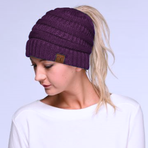 Winter CC Beanie 045e Messy Bun Beanie Pony Tail purple