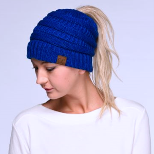 Winter CC Beanie 087c Messy Bun Beanie Pony Tail royal