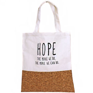 TPO MB0001 Canvas Tote cork HOPE white