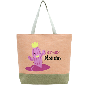 TPO MB0012 burlap tote summer holiday cactus coral