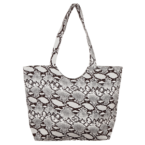 TPO MB0083 woven canvas tote python snake gray