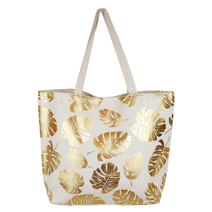 TPO MB0085 canvas tote leaves white