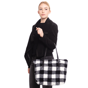 TPO MB0109 buffalo plaid tote black