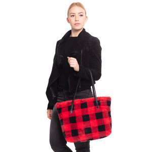 TPO MB0109 buffalo plaid tote red
