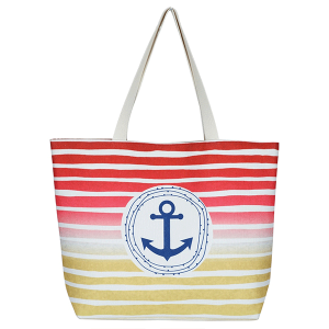 TPO MB0127 canvas tote bag stripe anchor red