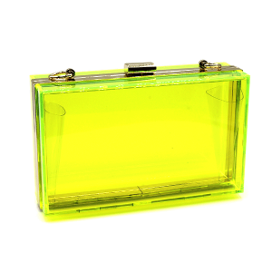 Rectangle hard case clutch transparent MBA8301 lime yellow