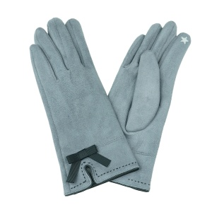 Winter Gloves 008 Touch Screen ribbon gray