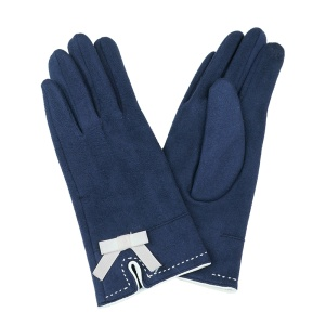 Winter Gloves 007 Touch Screen ribbon navy blue