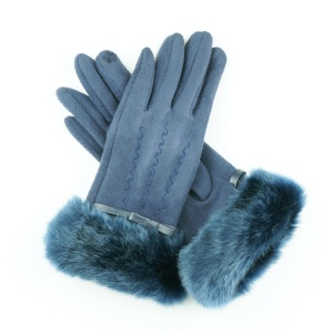 Winter Gloves 020 Touch Screen ribbon fur wave navy blue
