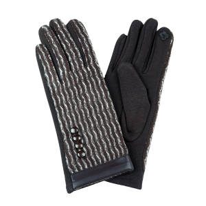 Winter Gloves 001 Touch Screen waves brown white