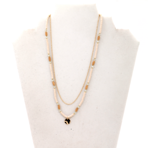 Necklace 2257 01 City white bead chain necklaces