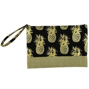 TPO MP0028 canvas cosmetic case metallic pineapple black