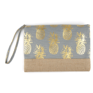TPO MP0028 canvas cosmetic case metallic pineapple gray