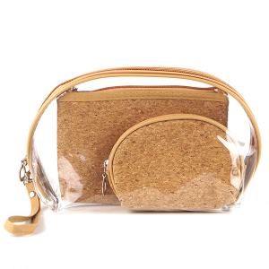 TPO MP0076 3pc cosmetic case set cork tan