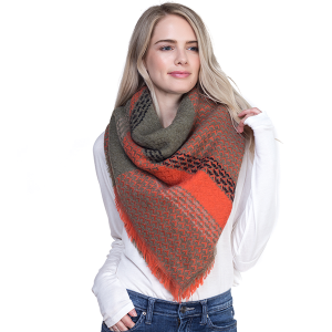 Scarf 099h TPO Large Square Scarf olive orange