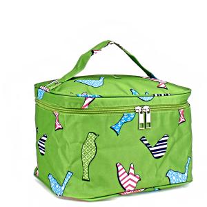 luggage AK NC70 green bird pattern collapsible makeup bag