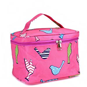 Luggage AK NC70 pink bird pattern collapsible makeup bag