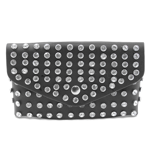 3AM PB7597 studded crystal belt bag fanny pack black