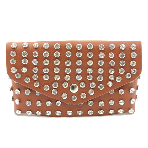 3AM PB7597 studded crystal belt bag fanny pack brown