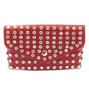 3AM PB7597 studded crystal belt bag fanny pack red