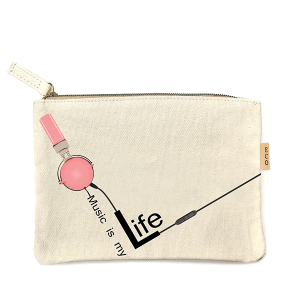 LOF PCH-046 makeup bag music is life headphones pink