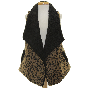 Vest 436e 34 lined cheetah brown